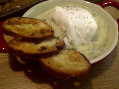 Creamed salt cod with poached egg